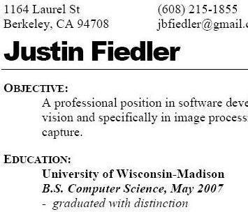 Justin Fiedler's Resume